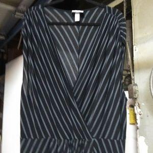 Grey & black striped knit dress